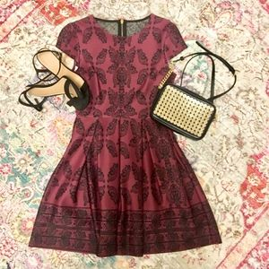 B. Darlin Burgundy Damask Fit and Flare Dress